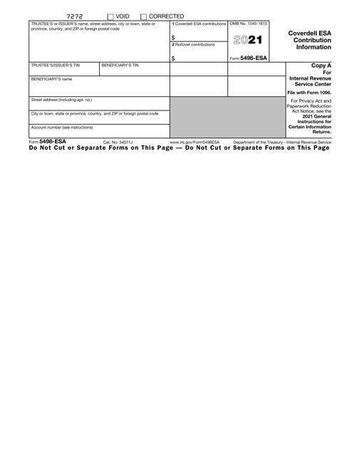IRS Form 5498-ESA 2021 Printable Pdf