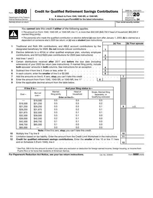 IRS Form 8880 2020 Printable Pdf