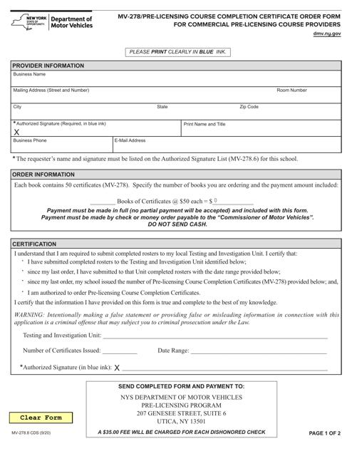 Form MV-278.8 CDS Printable Pdf