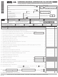 """Form NYC-2A """"Combined Business Corporation Tax Return"""" - New York City, 2019"""