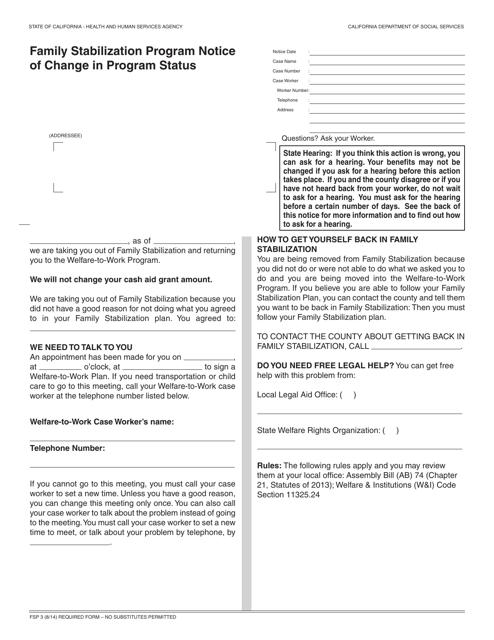 Form FSP3  Printable Pdf