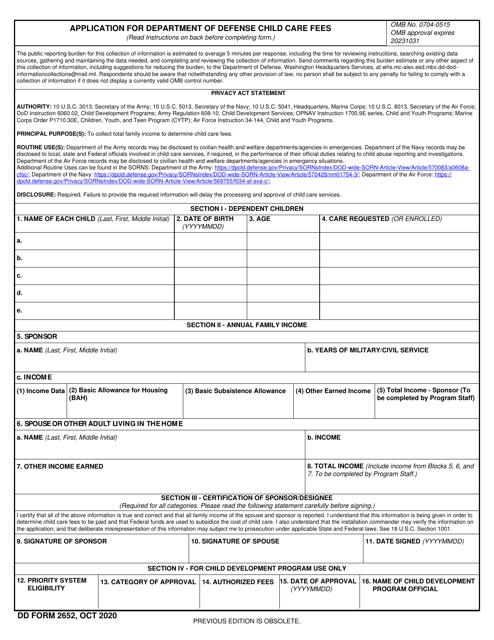 DD Form 2652  Printable Pdf
