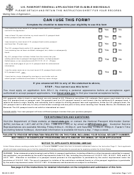 """Form DS-82 """"U.S. Passport Renewal Application for Eligible Individuals"""""""