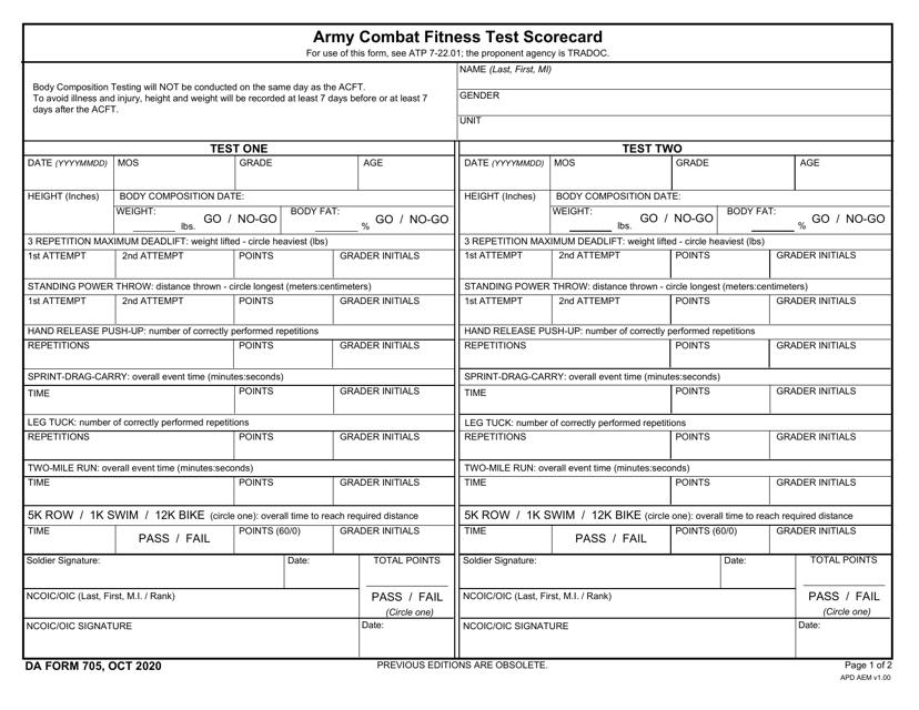 DA Form 705  Printable Pdf