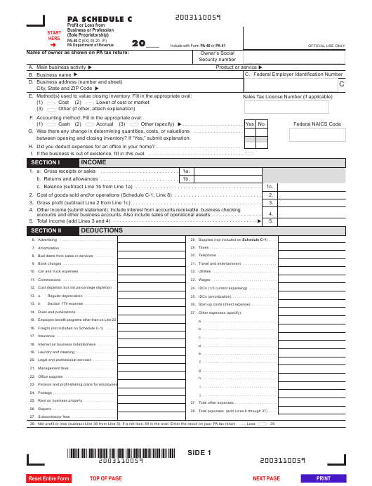 Form PA-40 Schedule C Printable Pdf