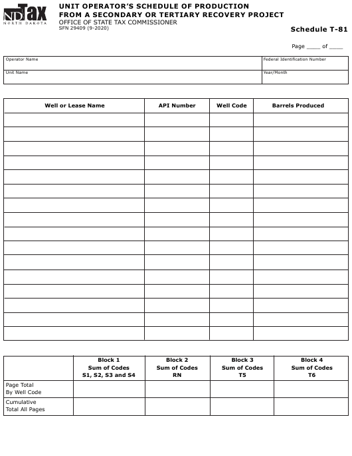 Form SFN29409 Schedule T-81  Printable Pdf