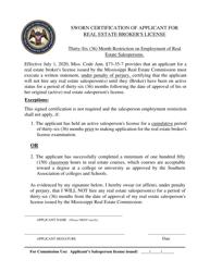 """""""Sworn Certification of Applicant for Real Estate Broker's License"""" - Mississippi"""