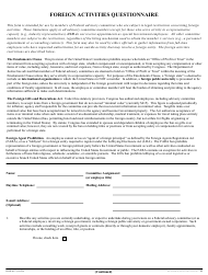 """Form HHS-697 """"Foreign Activities Questionnaire"""""""