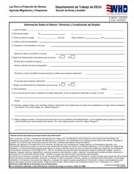 """Formulario WH-516 """"Informacion Sobre El Obrero - Terminos Y Condiciones De Empleo"""" (Spanish)"""