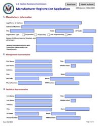 """Form EAC001C """"Manufacturer Registration Application"""""""