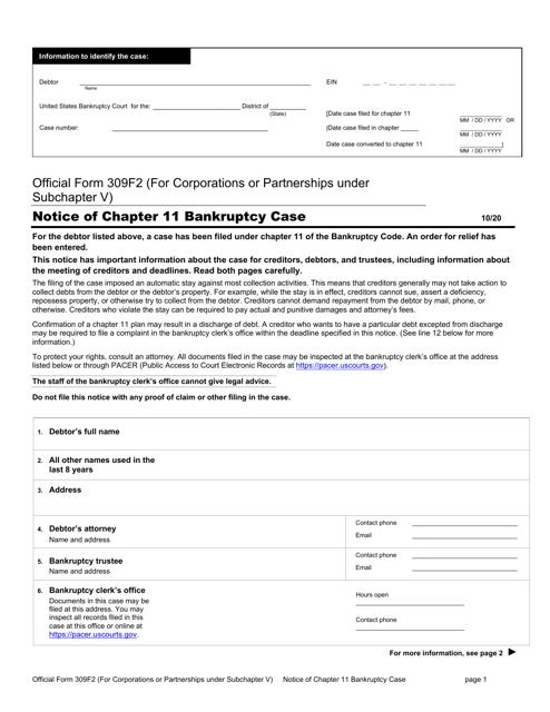Official Form 309F2 Printable Pdf