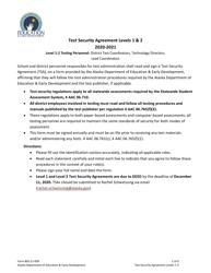 "Form 05-21-009 ""Test Security Agreement Levels 1 & 2"" - Alaska, 2021"