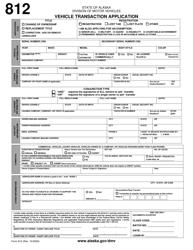 "Form 812 ""Vehicle Transaction Application"" - Alaska"