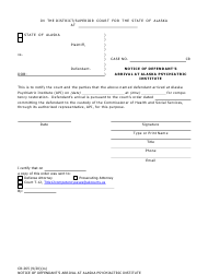 "Form CR-265 ""Notice of Defendant's Arrival at Alaska Psychiatric Institute"" - Alaska"