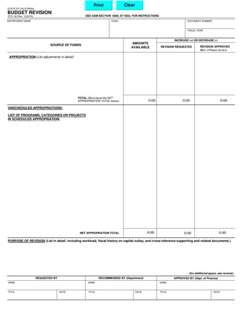 Form STD.26  Printable Pdf