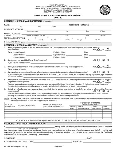 Form HCD OL ED123 Part B  Printable Pdf