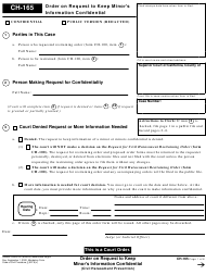 """Form CH-165 """"Order on Request to Keep Minor's Information Confidential"""" - California"""