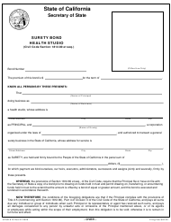 "Form SFSB-910 ""Surety Bond Health Studio"" - California"