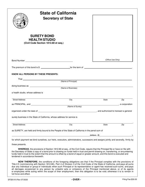 Form SFSB-910 Printable Pdf
