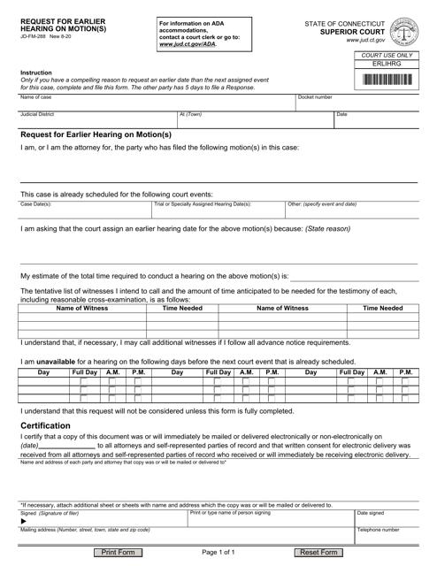 Form JD-FM-288  Printable Pdf