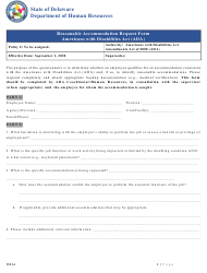 """""""Ada Reasonable Accommodation Request Form"""" - Delaware"""