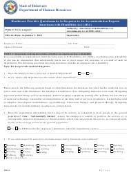 """""""Ada Healthcare Provider Questionnaire in Response to an Accommodation Request"""" - Delaware"""