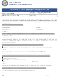 """""""Ada Authorization for Release of Protected Health Information Form"""" - Delaware"""