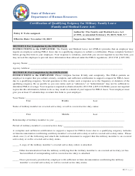 """""""Certification of Qualifying Exigency for Military Family Leave (Family and Medical Leave Act)"""" - Delaware"""