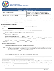 """""""Notice of Eligibility and Rights & Responsibilities (Family and Medical Leave Act)"""" - Delaware"""