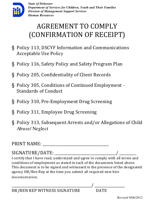 """""""Agreement to Comply (Confirmation of Receipt)"""" - Delaware Download Pdf"""