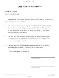 "Form DEP63-030(16) ""Example Applicant's Affidavit"" - Florida"