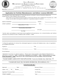 """Application for Fertilizer Manufacturers' and Sellers' License"" - Alabama, 2021"