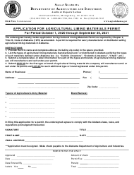 """Application for Agricultural Liming Materials Permit"" - Alabama, 2021"