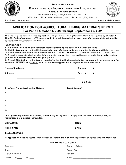 """""""Application for Agricultural Liming Materials Permit"""" - Alabama Download Pdf"""