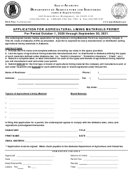 """""""Application for Agricultural Liming Materials Permit"""" - Alabama"""