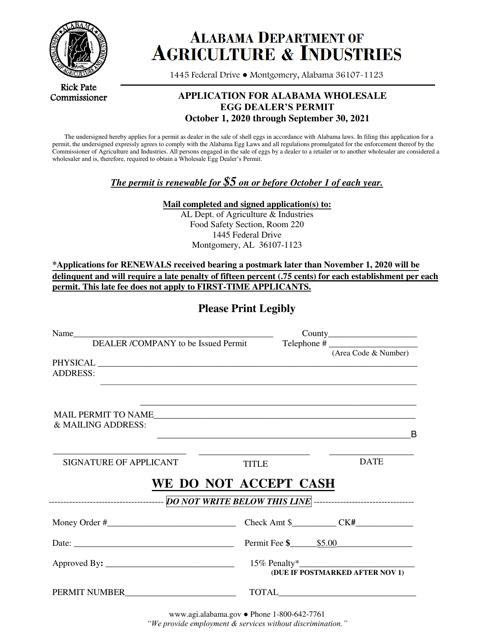 """""""Application for Alabama Wholesale Egg Dealer's Permit"""" - Alabama Download Pdf"""