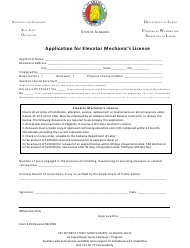 "Form E-03 ""Application for Elevator Mechanic's License"" - Alabama"