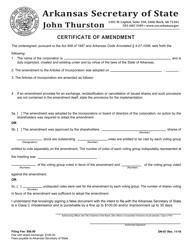 """Form DN-07 """"Certificate of Amendment"""" - Arkansas"""