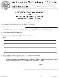 "Form LL-02 ""Certificate of Amendment to Articles of Organization for Limited Liability Company"" - Arkansas"