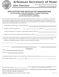 """""""Application for Articles of Organization for Conversion From Partnership or Limited Partnership to Limited Liability Company"""" - Arkansas"""