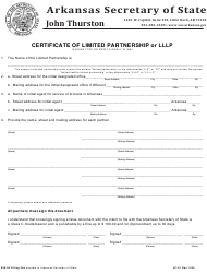 "Form LP-01 ""Certificate of Limited Partnership or Lllp"" - Arkansas"