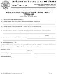 """Application for Qualification of Limited Liability Partnership"" - Arkansas"