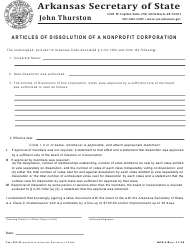 "Form NPD-4 ""Articles of Dissolution of a Nonprofit Corporation"" - Arkansas"