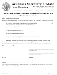 "Form NO-7 ""Certificate of Dissolution of a Non-profit Corporation"" - Arkansas"
