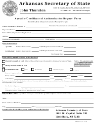 "Form ARF-01 ""Apostille/Certificate of Authentication Request Form"" - Arkansas"