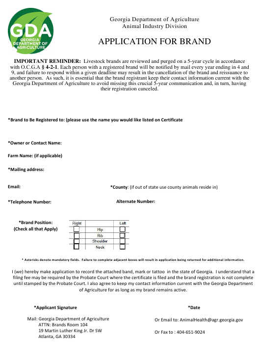 """""""Cattle/Equine Brand Application"""" - Georgia (United States) Download Pdf"""