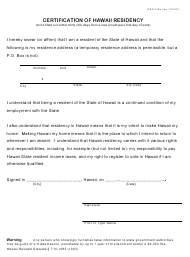 "Form HRD319A ""Certification of Hawaii Residency"" - Hawaii"