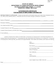 "Form HRD324A ""Authorization Certificate for Release of Employment Information"" - Hawaii"