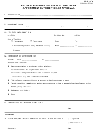 "Form HRD397A ""Request for Non-civil Service Temporary Appointment Outside the List Approval"" - Hawaii"