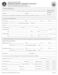 """""""Application for Mooring Permit / Mooring Waitlist"""" - Hawaii"""